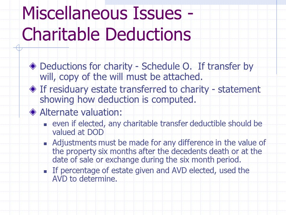 Miscellaneous Issues - Charitable Deductions