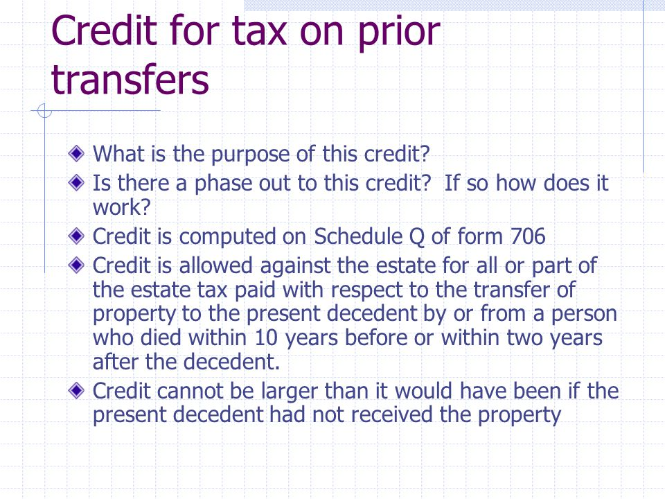 Credit for tax on prior transfers