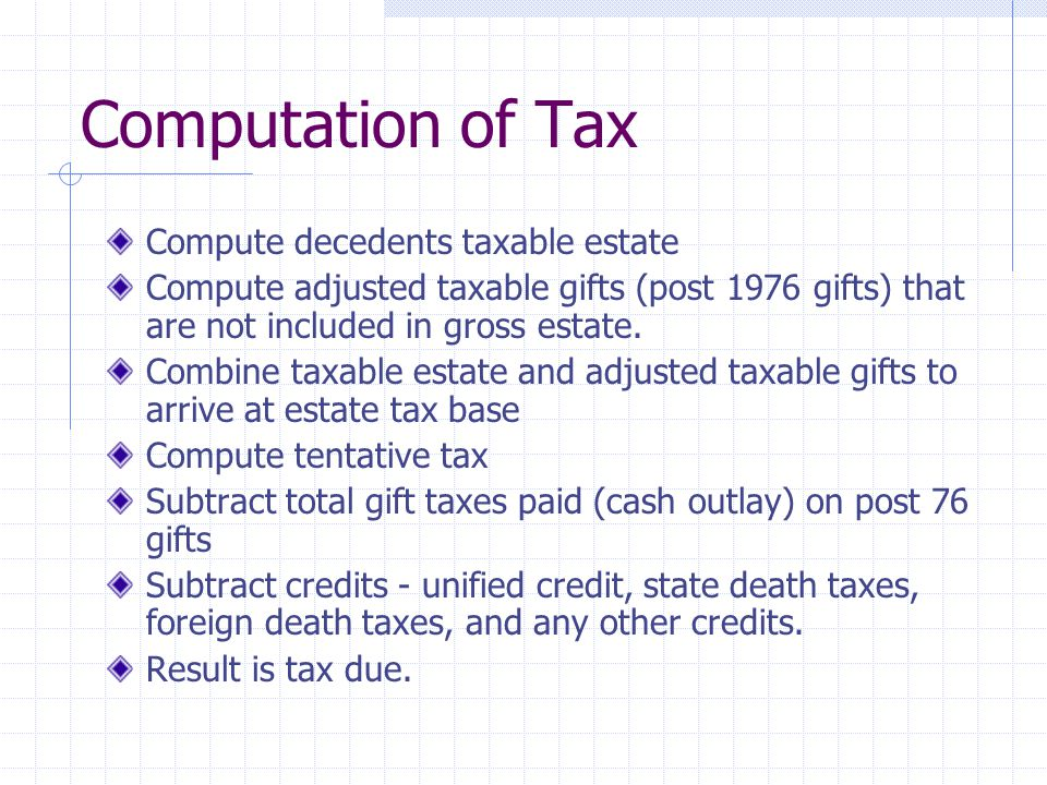Computation of Tax Compute decedents taxable estate