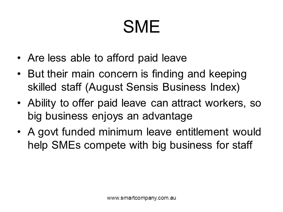 SME Are less able to afford paid leave