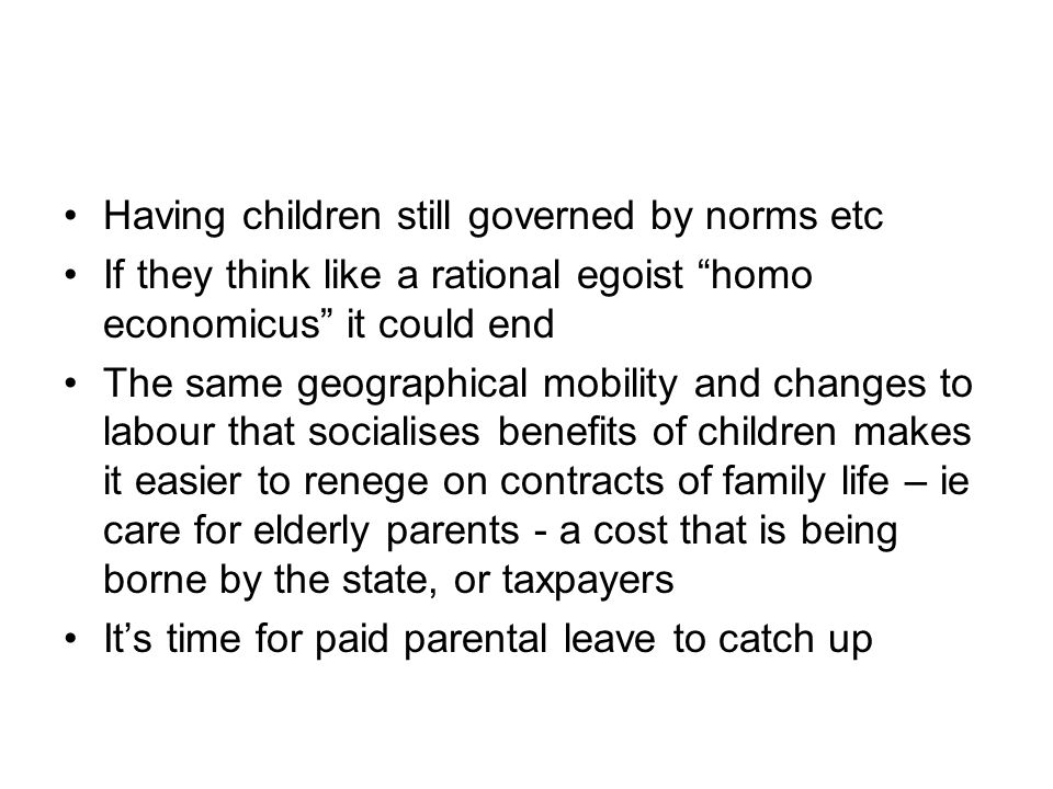 Having children still governed by norms etc