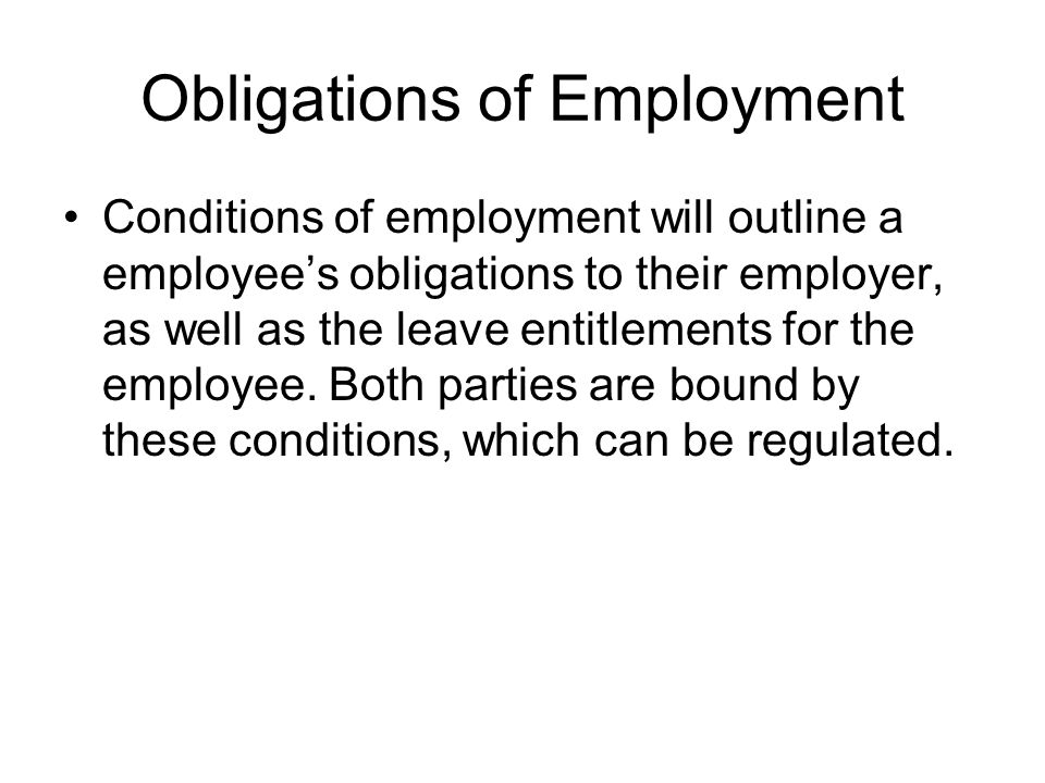 Obligations of Employment