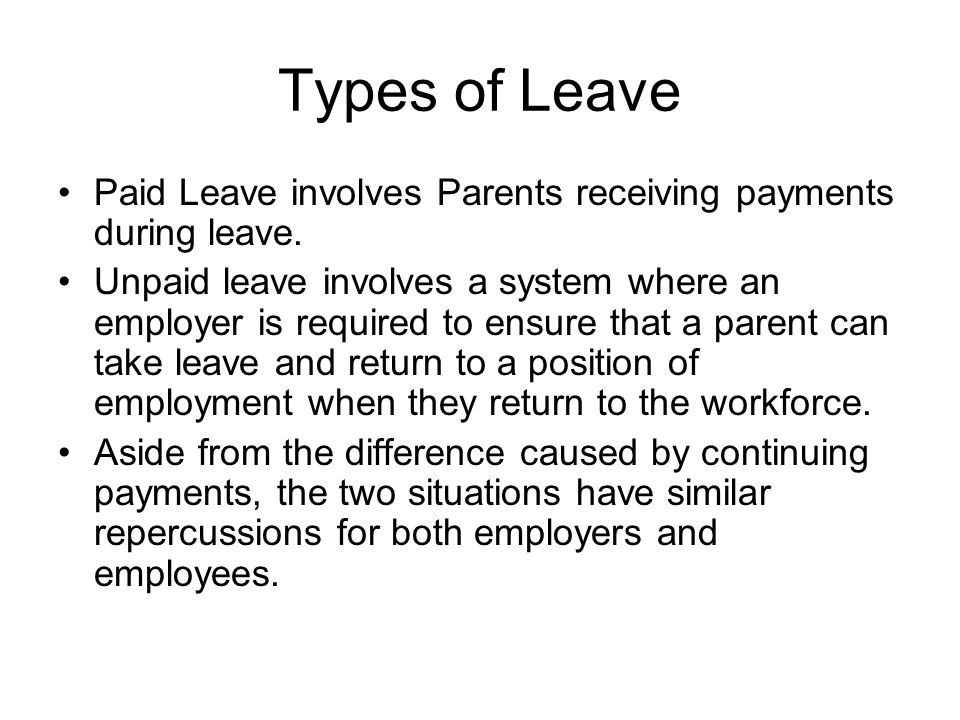 Types of Leave Paid Leave involves Parents receiving payments during leave.