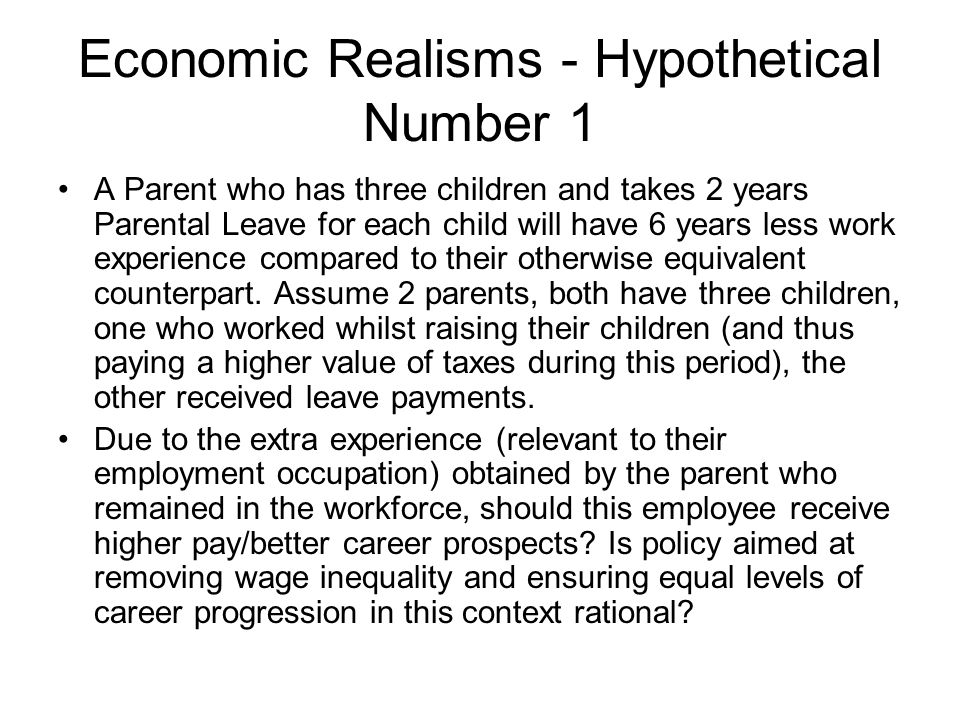 Economic Realisms - Hypothetical Number 1