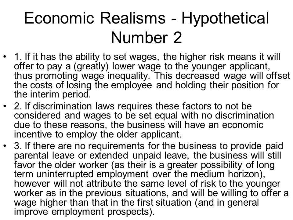 Economic Realisms - Hypothetical Number 2