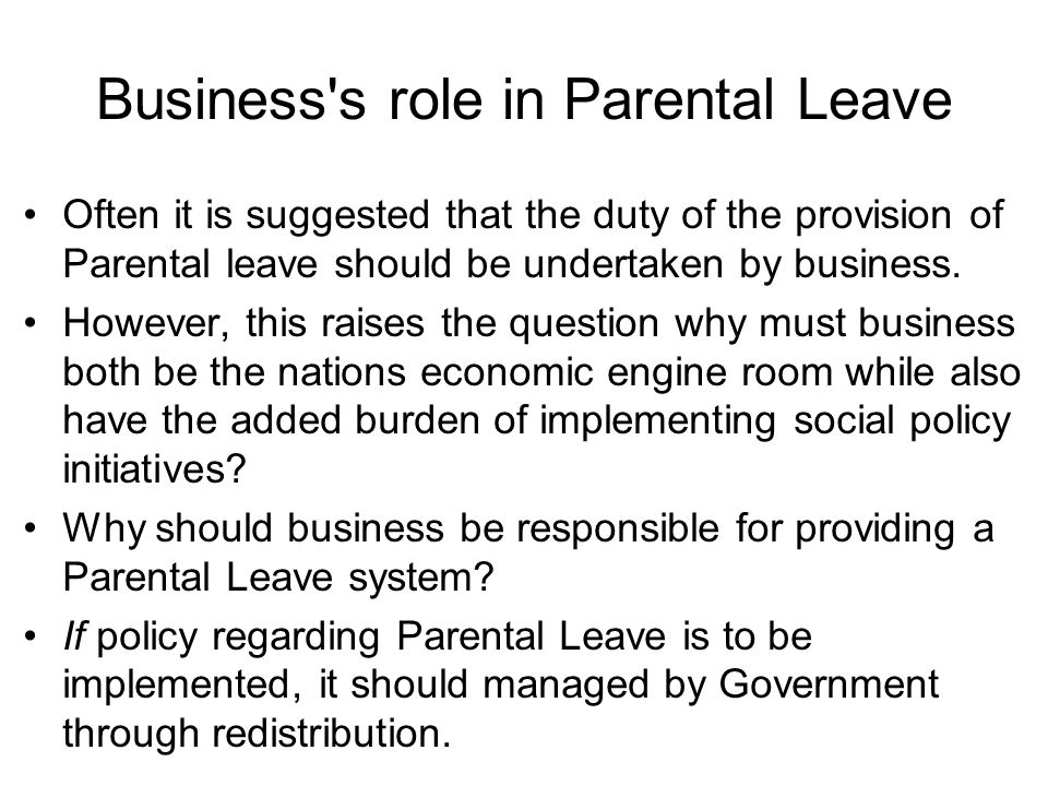 Business s role in Parental Leave