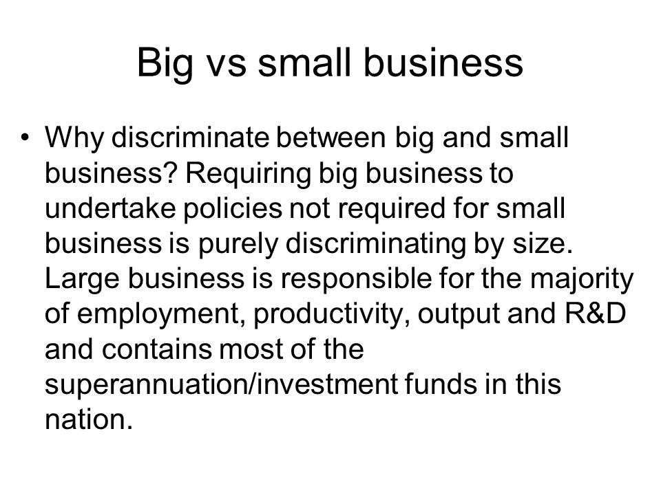 Big vs small business
