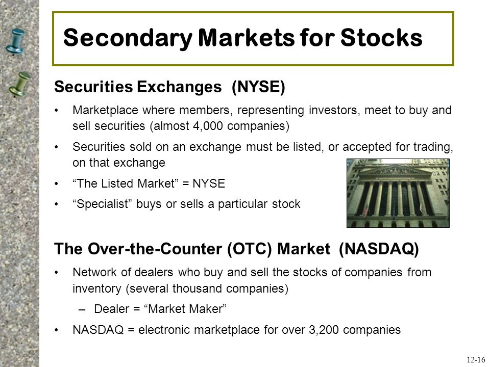 Secondary Markets for Stocks