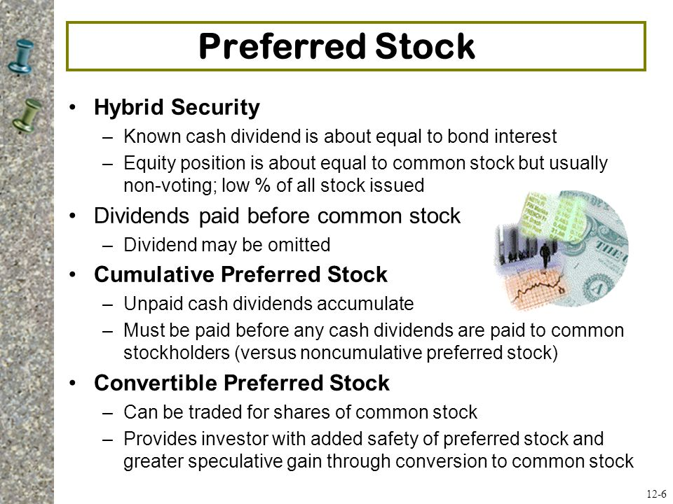 Preferred Stock Hybrid Security Dividends paid before common stock
