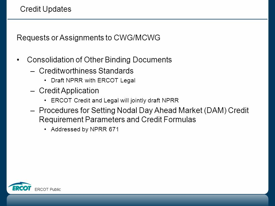 Requests or Assignments to CWG/MCWG