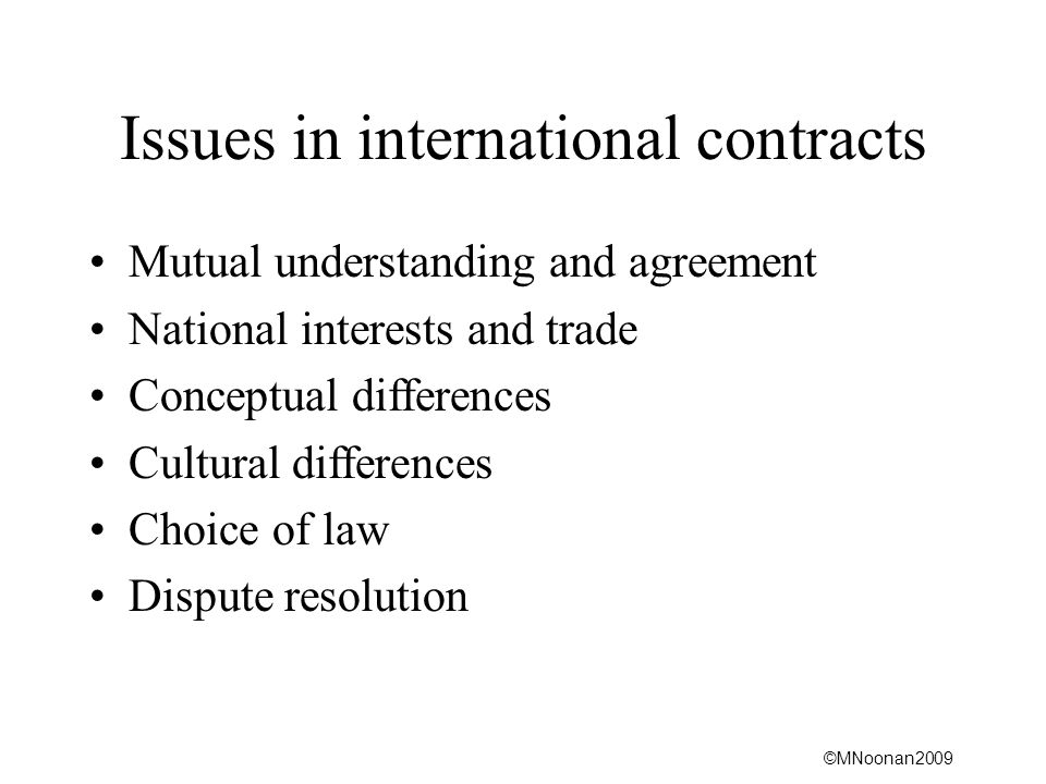 Issues in international contracts