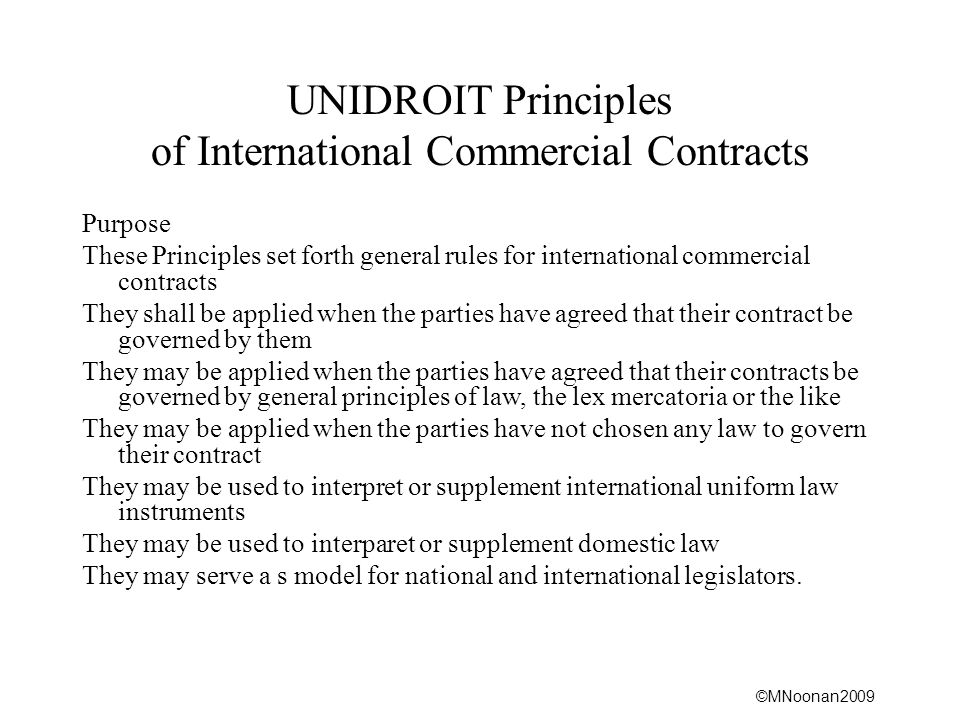 UNIDROIT Principles of International Commercial Contracts