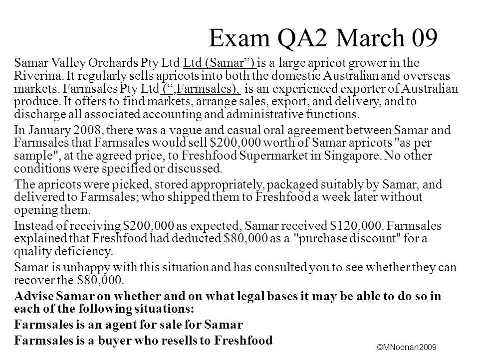 Exam QA2 March 09