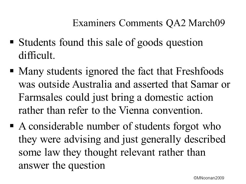 Examiners Comments QA2 March09