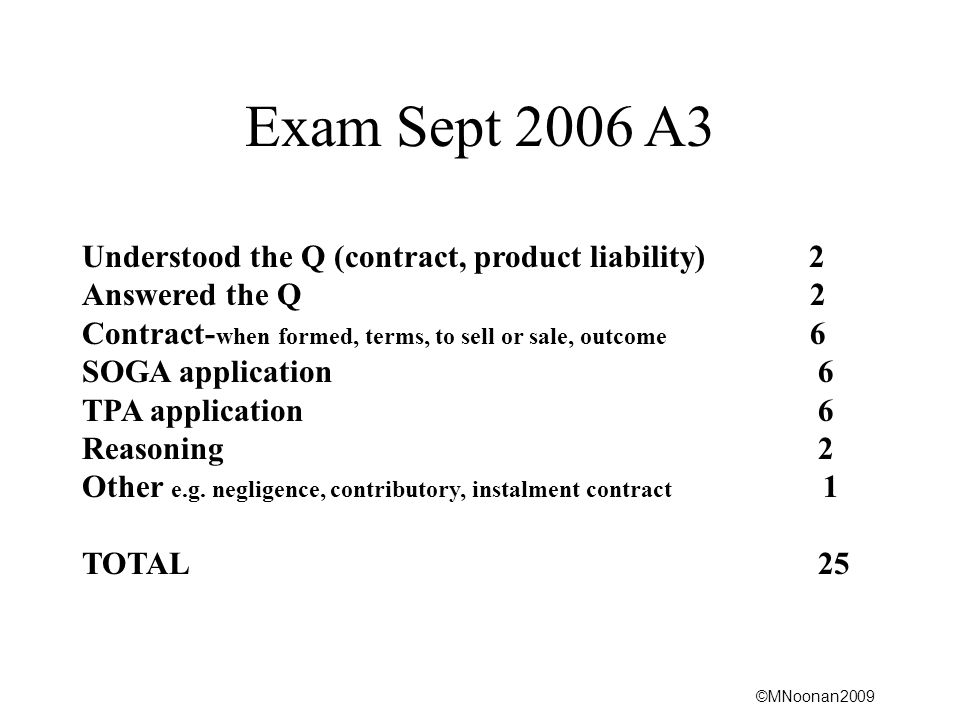 Exam Sept 2006 A3 Understood the Q (contract, product liability) 2