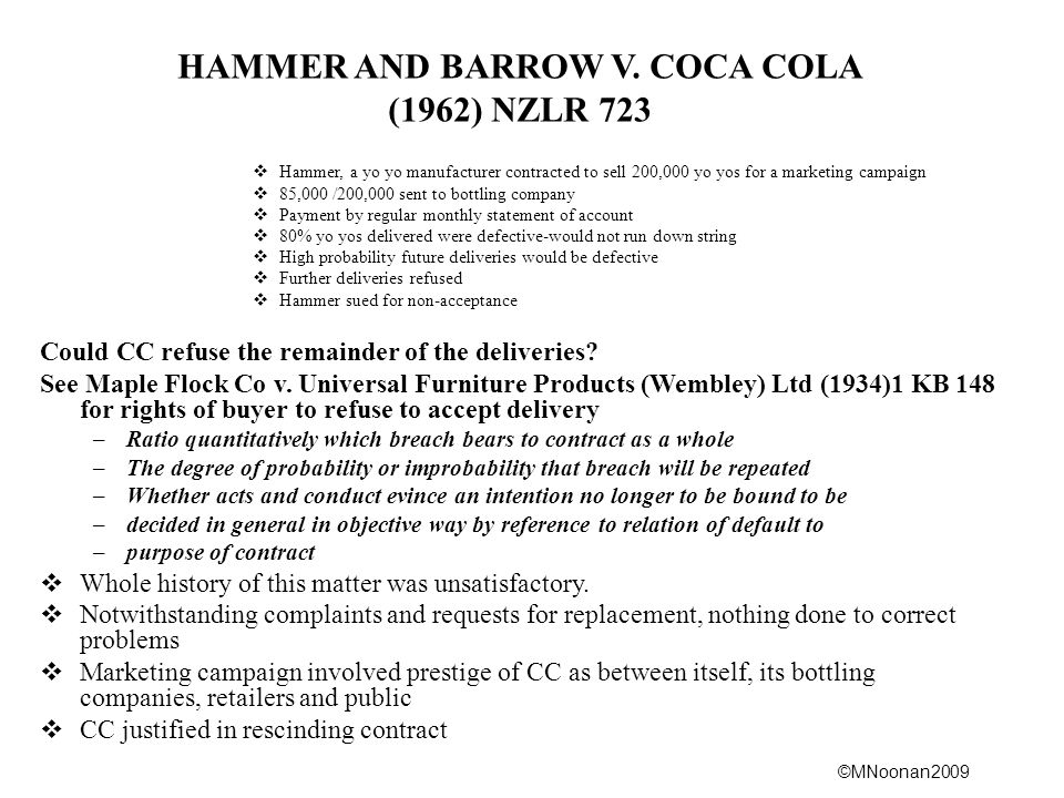 HAMMER AND BARROW V. COCA COLA
