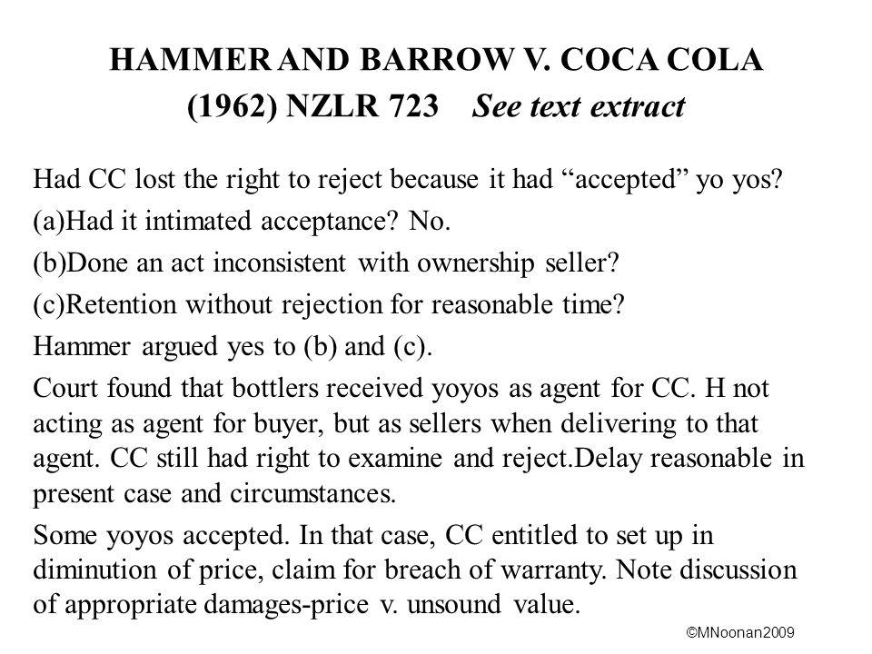 HAMMER AND BARROW V. COCA COLA (1962) NZLR 723 See text extract