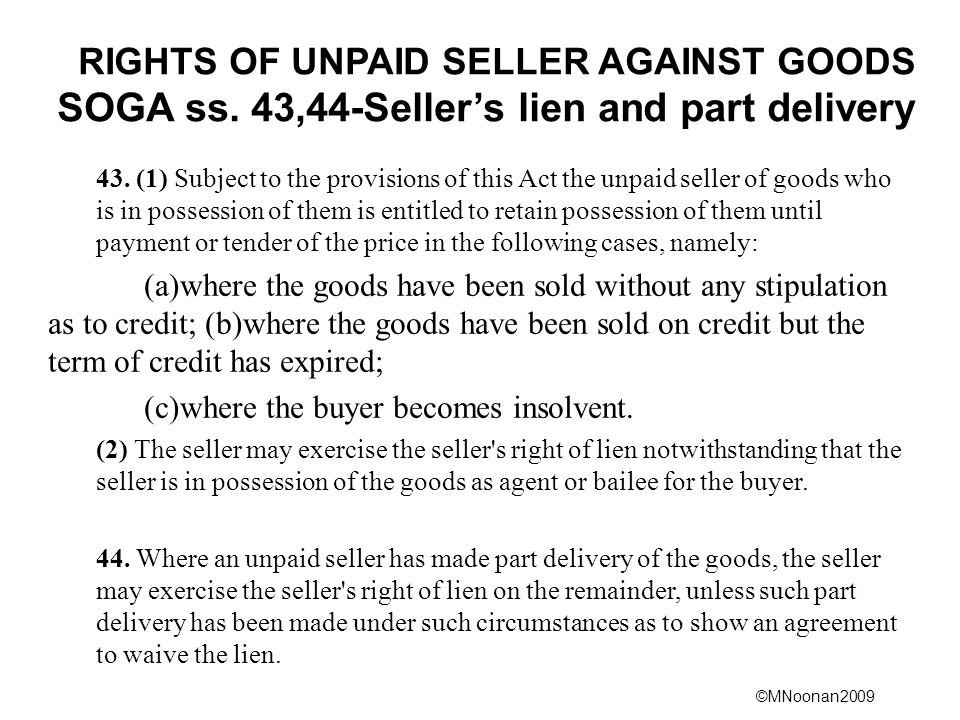 RIGHTS OF UNPAID SELLER AGAINST GOODS SOGA ss
