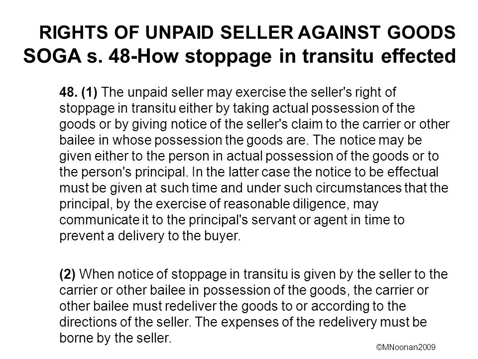 RIGHTS OF UNPAID SELLER AGAINST GOODS SOGA s