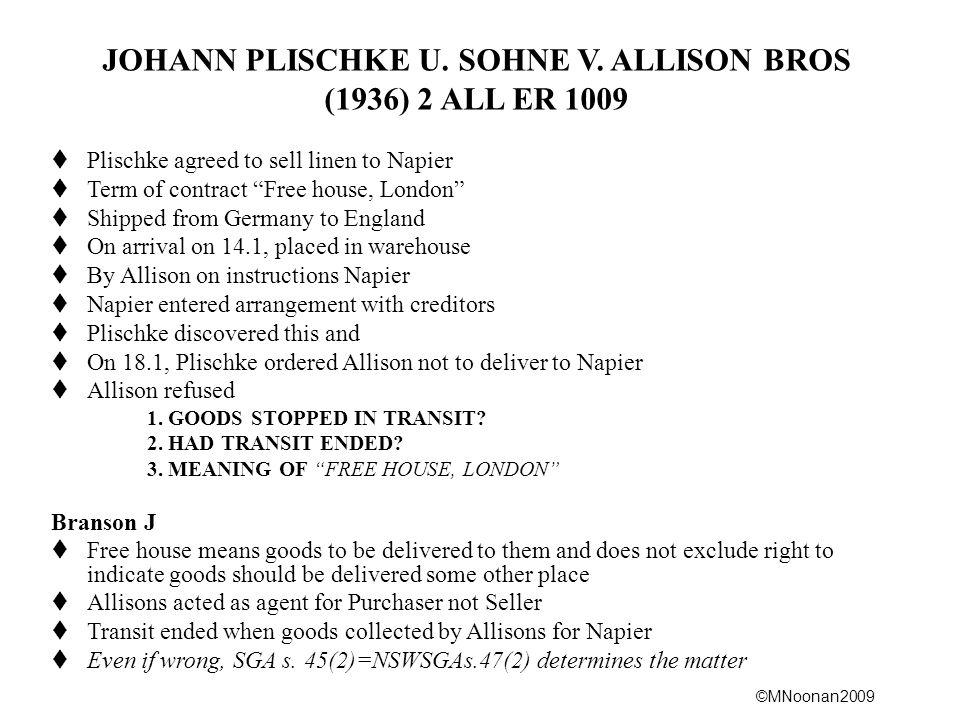 JOHANN PLISCHKE U. SOHNE V. ALLISON BROS
