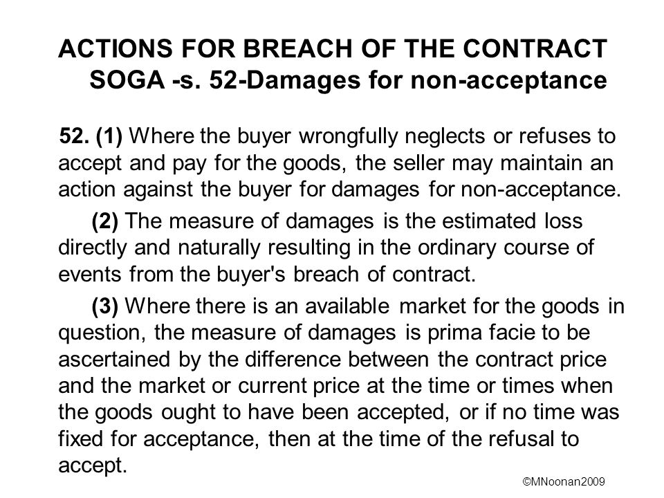ACTIONS FOR BREACH OF THE CONTRACT SOGA -s