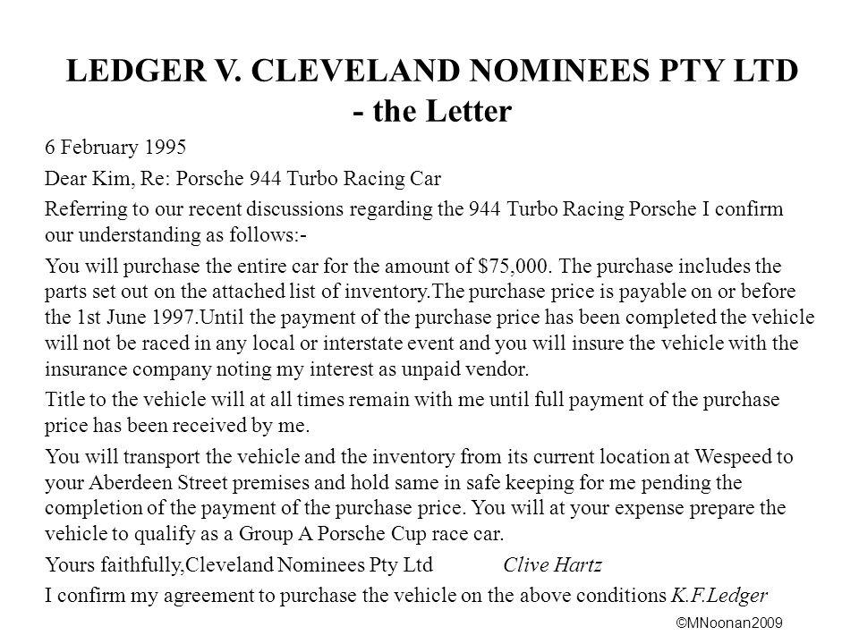 LEDGER V. CLEVELAND NOMINEES PTY LTD - the Letter