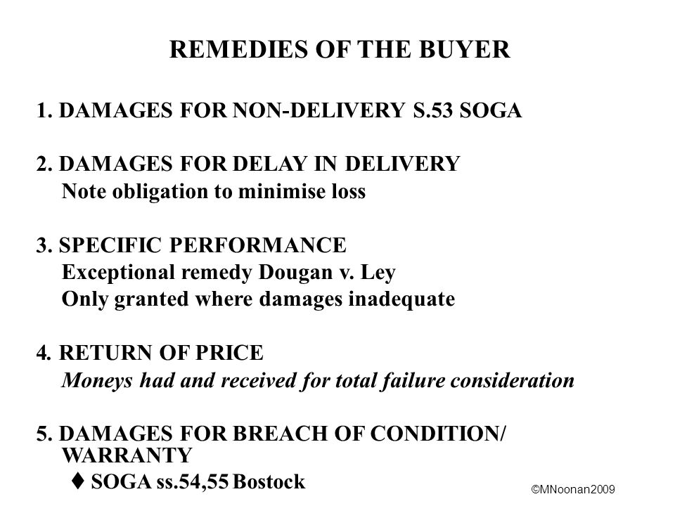 REMEDIES OF THE BUYER 1. DAMAGES FOR NON-DELIVERY S.53 SOGA