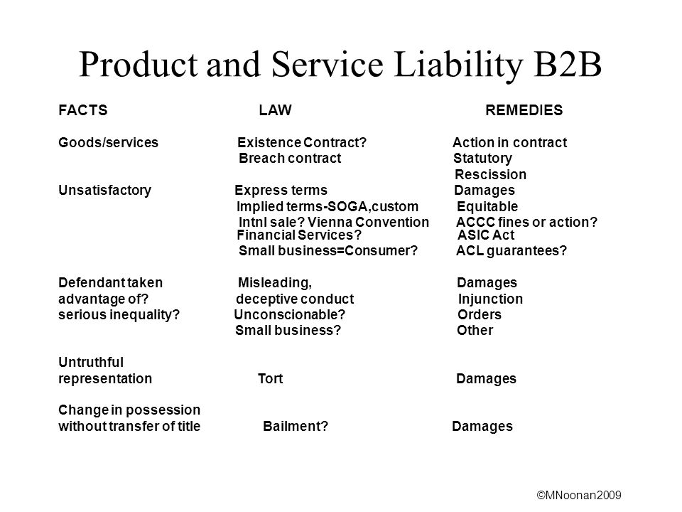 Product and Service Liability B2B