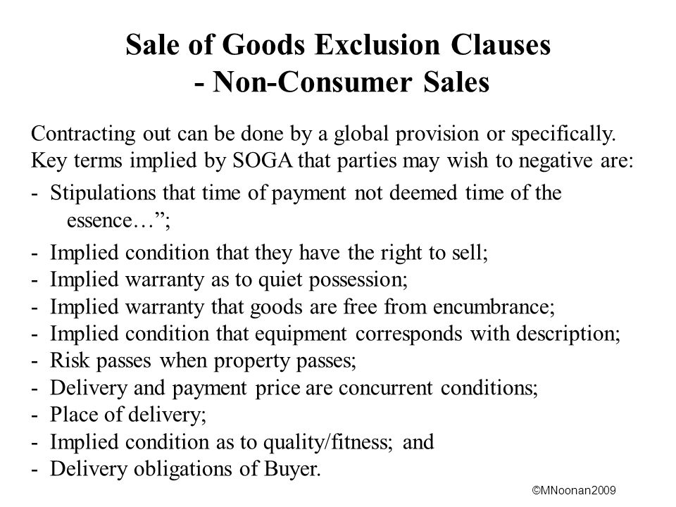 Sale of Goods Exclusion Clauses - Non-Consumer Sales
