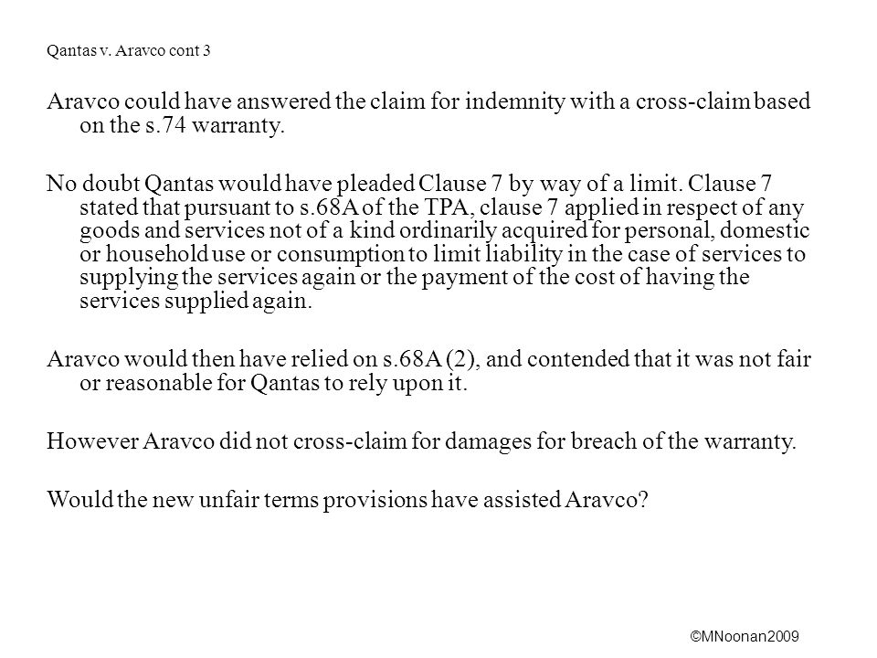 Would the new unfair terms provisions have assisted Aravco