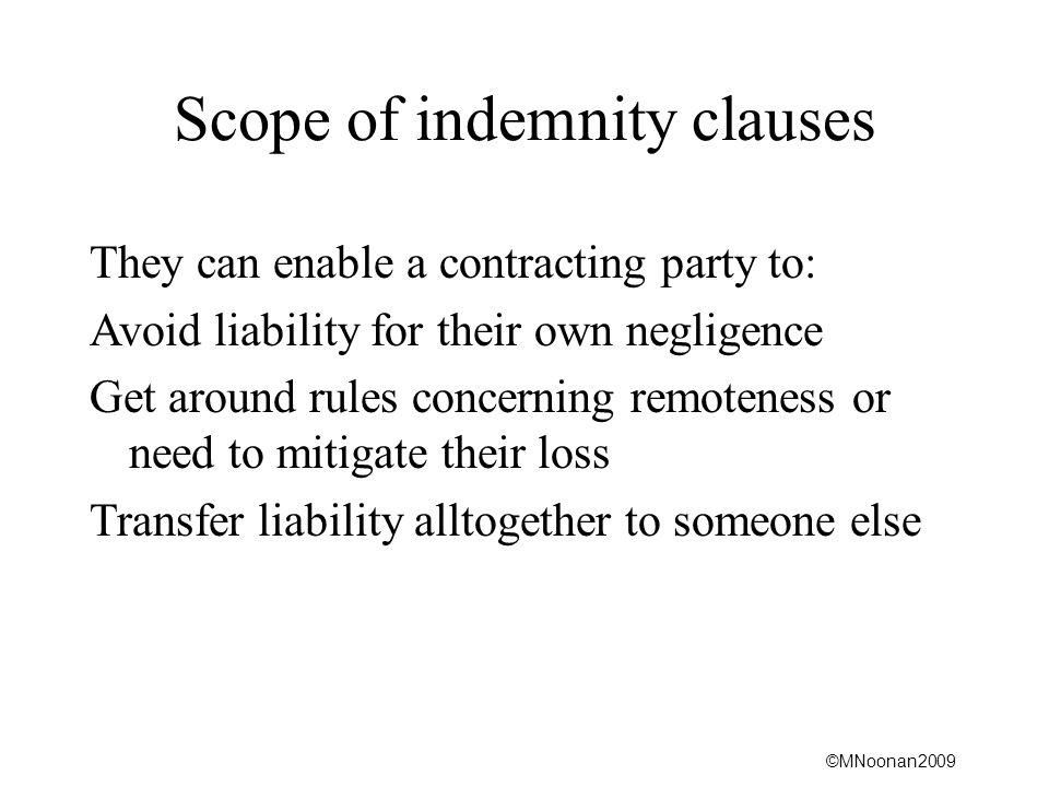 Scope of indemnity clauses