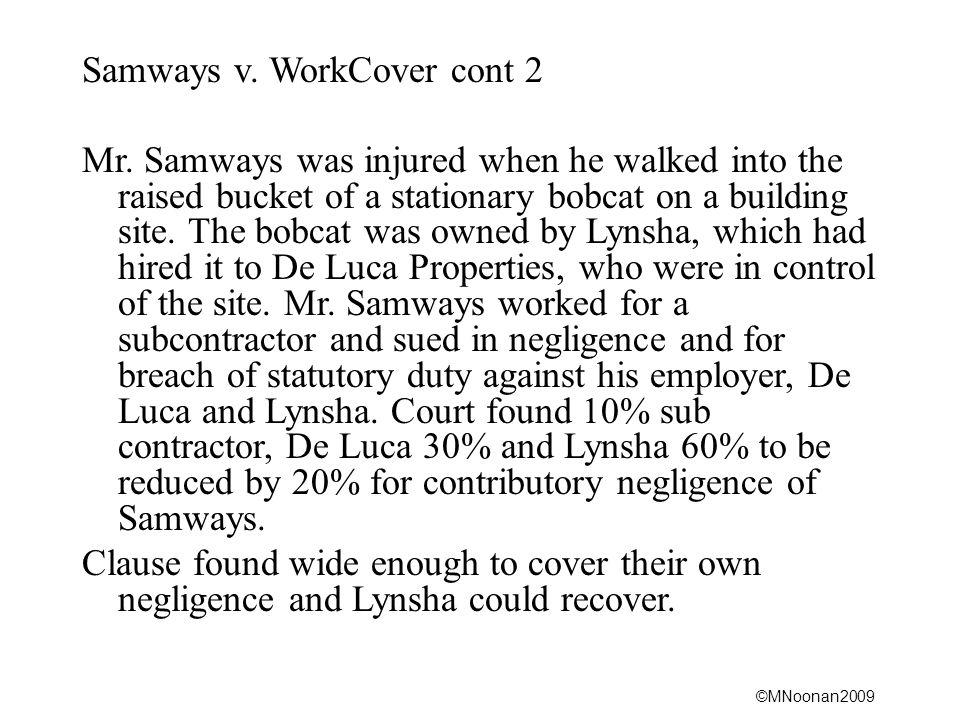 Samways v. WorkCover cont 2