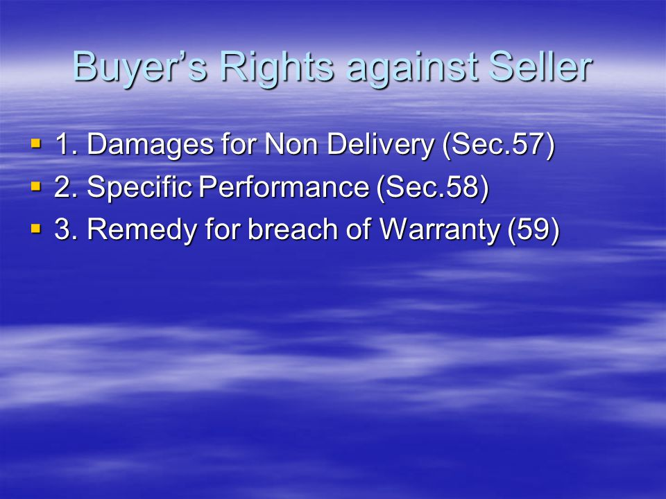 Buyer's Rights against Seller