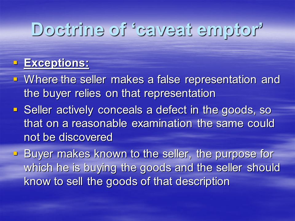 Doctrine of 'caveat emptor'