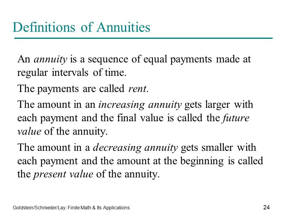 Definitions of Annuities