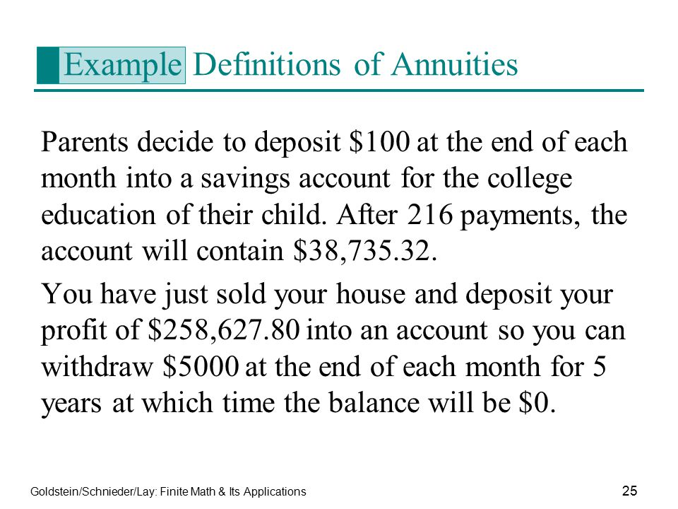 Example Definitions of Annuities