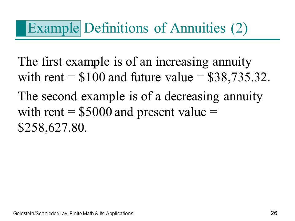 Example Definitions of Annuities (2)
