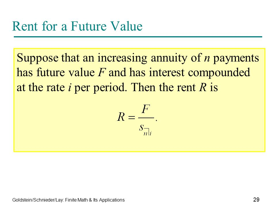 Rent for a Future Value