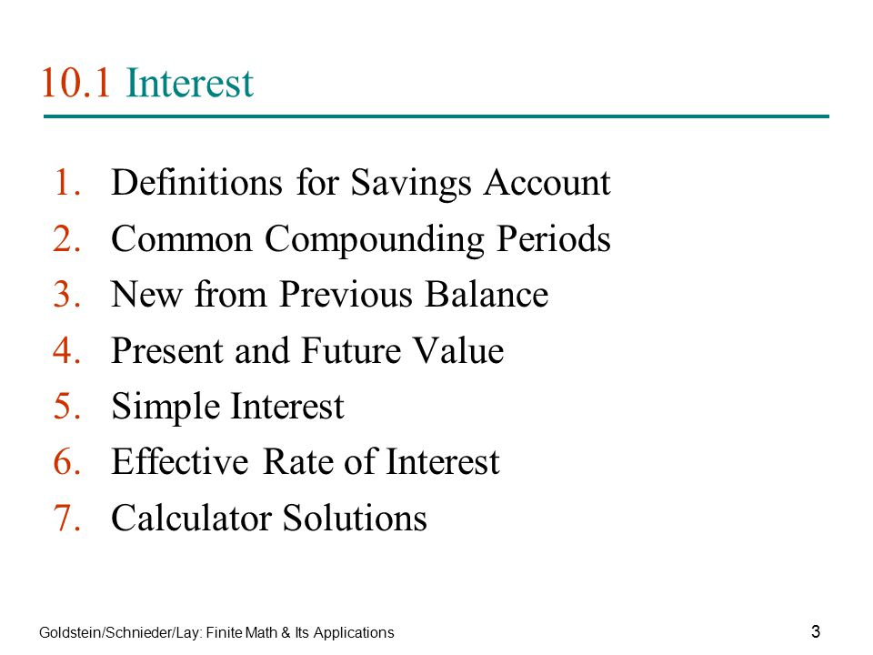 10.1 Interest Definitions for Savings Account