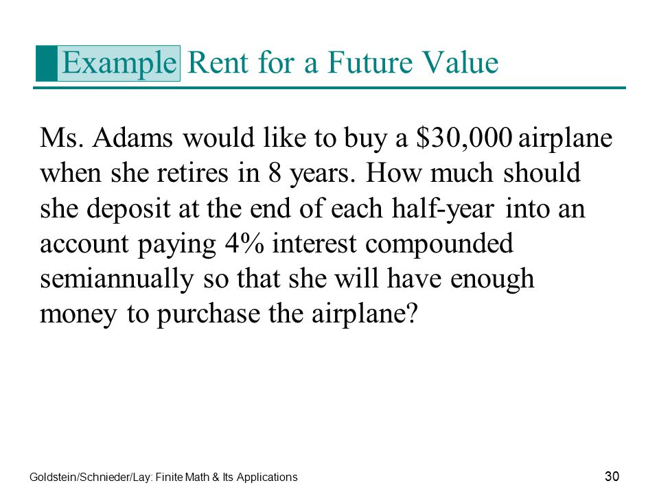 Example Rent for a Future Value