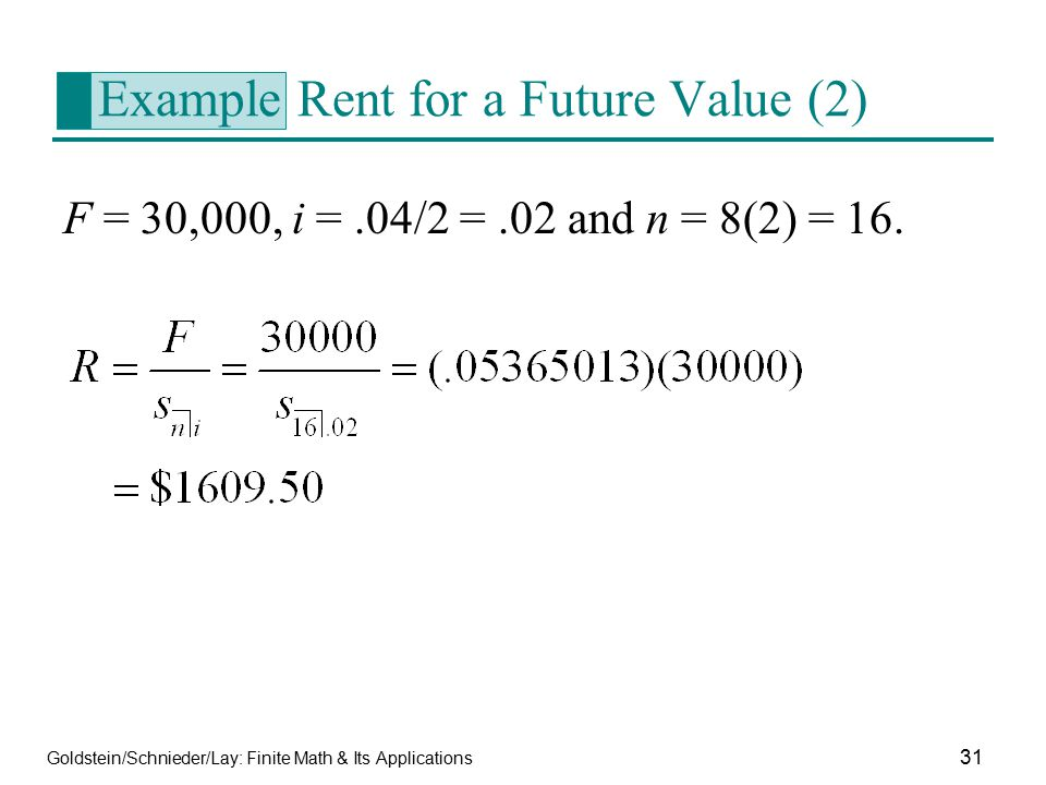Example Rent for a Future Value (2)