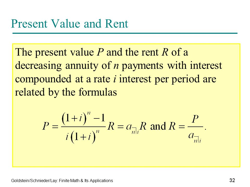Present Value and Rent