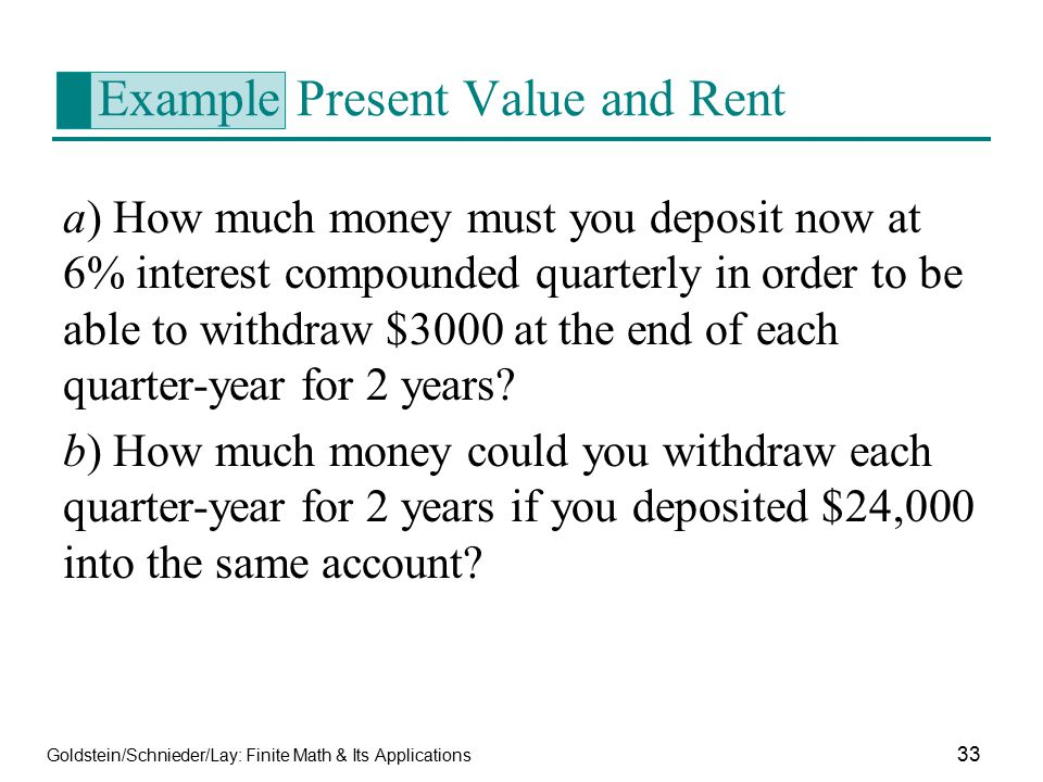 Example Present Value and Rent
