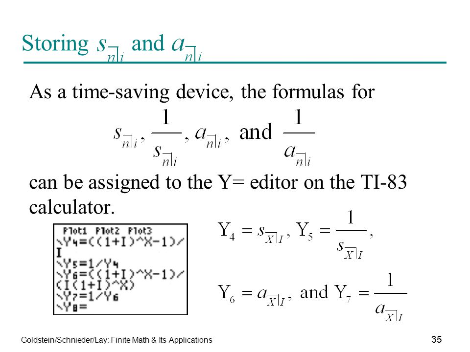 Storing and As a time-saving device, the formulas for