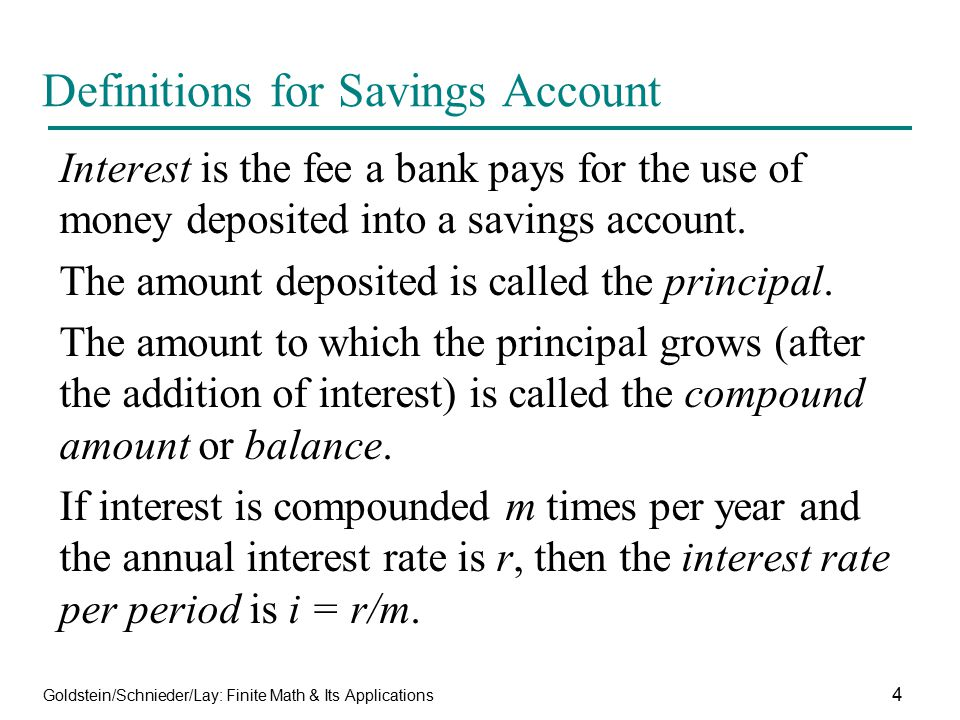 Definitions for Savings Account