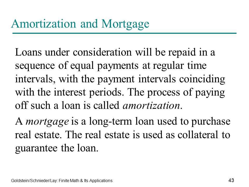 Amortization and Mortgage