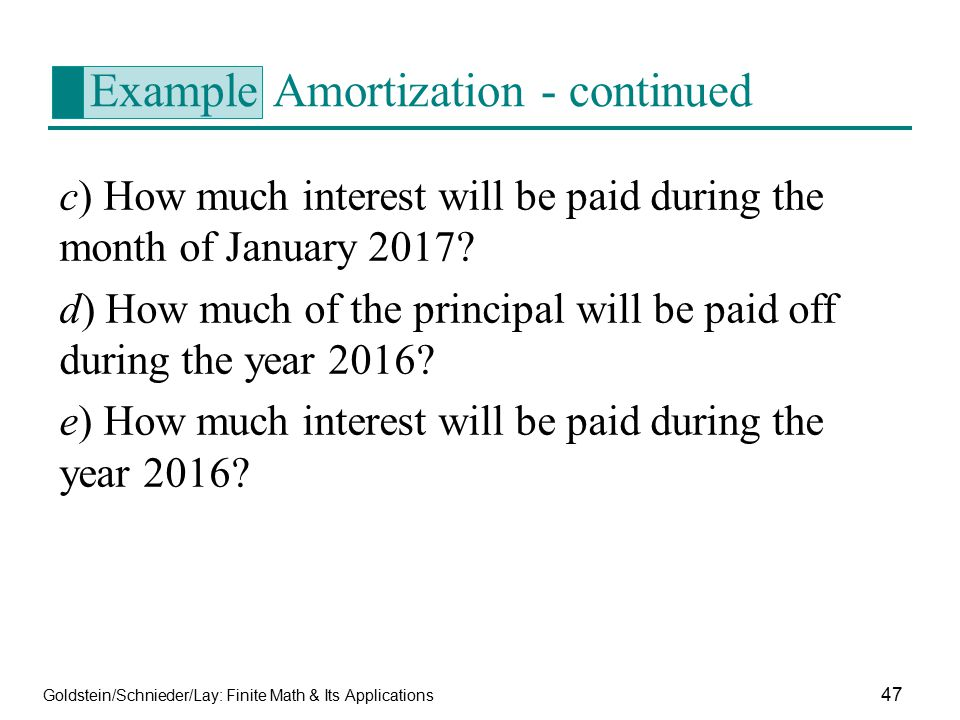 Example Amortization - continued