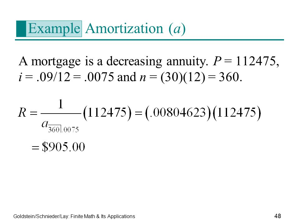 Example Amortization (a)