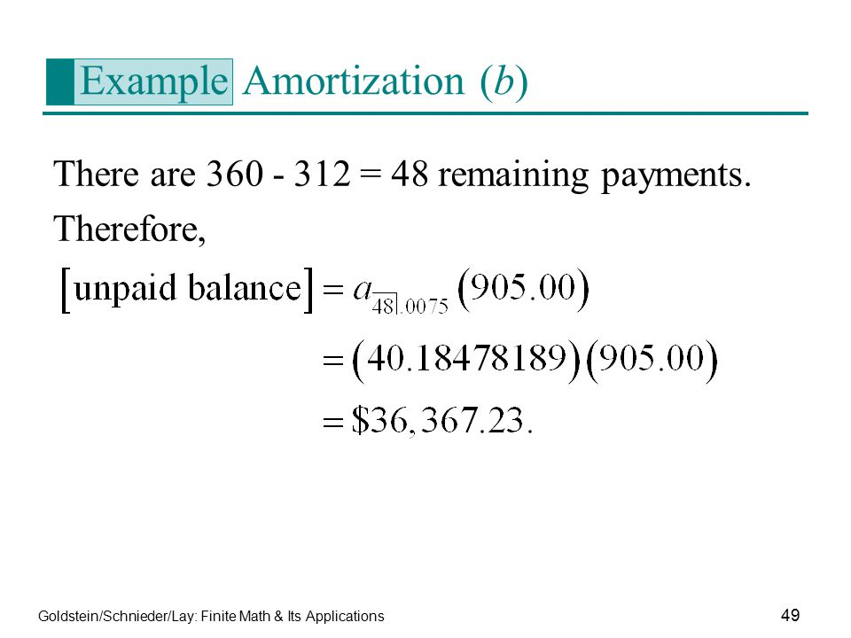 Example Amortization (b)