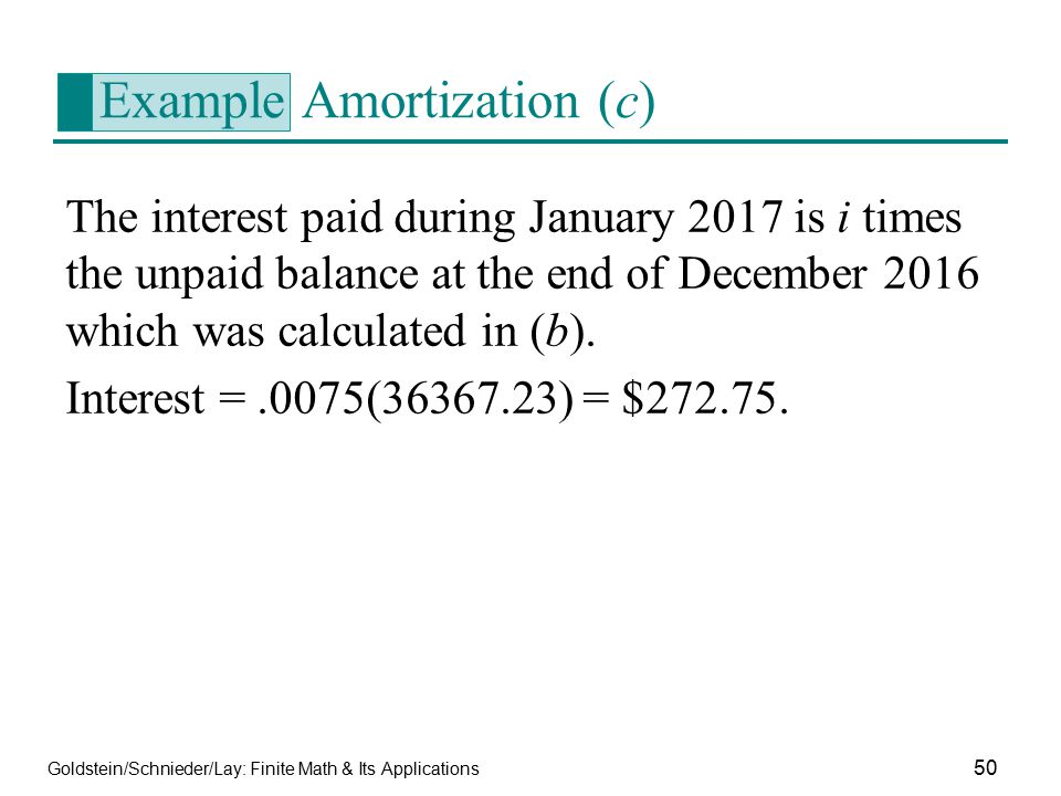 Example Amortization (c)